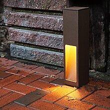 Wegeleuchte Aluminium rost-braun 45 cm | einseitiger Lichtaustritt + E27 + IP43 + gebürstet + winterfest + dimmbar + indirektes Licht | Gartenbeleuchtung | Außenlampe | Standleuchte | Außenleuchte