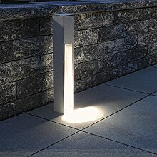 Wegeleuchte Aluminium silber-grau 75 cm | einseitiger Lichtaustritt + E27 + IP43 + robust + winterfest + dimmbar + indirektes Licht | Gartenbeleuchtung | Außenlampe | Standleuchte | Außenleuchte