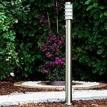 Wegeleuchte Tunes mit Bewegungsmelder und Steckdose - Sockellampe Garten aus Edelstahl mit E27 Fassung 40 Watt - moderne Pollerleuchte – Garten Leuchte – Sockelleuchte