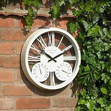 Wei� Garten Wanduhr Barometer Thermometer Feuchtigkeitsmesser Innen-draussen 15