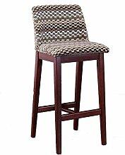 WEI MING Shop- Retro Bar Stuhl Bar Hocker Sessel, Massivholz High Hocker Restaurant Haushalt Kreative Rückenlehne Esszimmerstuhl, Faltbare Stoff Kissen (41,5 * 43,5 * 93CM) Barhocker ( Farbe : B )