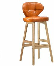 WEI MING Shop- Retro Eisen Bar Stuhl Bar Hocker, Massivholz High Hocker Restaurant Haushalt Kreative Esszimmerstuhl Casual Study Rückenlehne Stuhl, Orange PU Leder Kissen Barhocker ( Farbe : A )