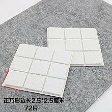 WEIAIXX Verdickung Stuhl Fußauflage Stumm Anti-Rutsch Stuhl Tisch Hocker Sofa Couchtisch Schrank Parkett Holzboden Schutz Fußmatte Weißes Quadrat 2,5 * 2,5 Cm Scheiben