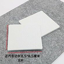 WEIAIXX Verdickung Stuhl Fußauflage Stumm Anti-Rutsch Stuhl Tisch Hocker Sofa Couchtisch Schrank Parkett Holzboden Schutz Fußmatte Weißes Quadrat 8.5 * 8.5 Cm 8 Scheiben