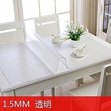Weich-Pvc-Tischdecke Wasserdicht Und Verbrühen Kunststoff Tischdecke Transparent Gefrostet Tischdecke, 1,5 Mm Dicke Transparent, 90*90