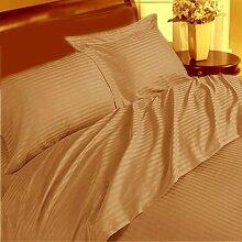 Weich und elegant 1-teiliges Bett Rock Best 350TC taupe Stripe UK Euro King 100% ägyptische Baumwolle extra tief Tasche (22Zoll)–von TRP Blatt–B24
