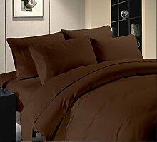 weiche 5-teiliges Bettbezug Set + 1Spannbetttuch Premium 400TC, Schokolade massiv UK Betten 100% ägyptische Baumwolle {18Zoll Tief}–A5–von TRP Bla