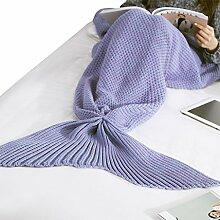 Weiche Kuscheldecke Meerjungfrau Schwanz Wolldecke Bettdecke Blankets Häkeln Schlafsäcke für Damen Herren Kinder Schlafzimmer Sofa Auto in alle Jahreszeit 80x180CM