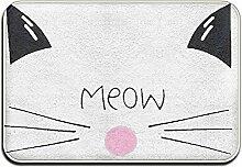 Weichem rutschfestem Cute Cat Face Meow Badteppich