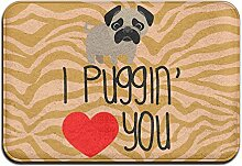 Weichem rutschfestem Funny Pug Love Dog Badteppich