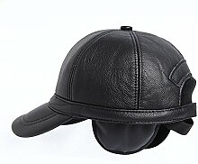 Weicher Lammfell-Leder-Baseballmütze der Männer, der justierbare Kappe fährt ( Farbe : Schwarz )