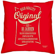 weiches cooles Sofa Deko-Kopf-Kissen Fun Motiv Original seit 18 Jahren ideales Geschenk zum Geburtstag Jubiläum Weihnachten Größe 40x40 cm Farbe ro
