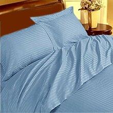 Weiches und elegantes 1Stück Spannbettlaken Marken 350TC Light Blau Stripe UK Double 100% ägyptische Baumwolle extra tief Tasche (12Zoll)–von TRP Blatt–B13