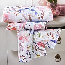 Weiches Velours-Handtuch mit Aquarell-Blüten