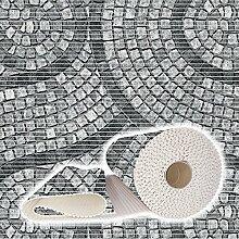 Weichschaummatte Badvorleger Bodenbelag Badläufer Antirutsch 130x280cm Mosaik Steine Grau
