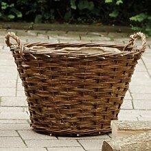 Weide-Kaminholzkorb Ø60 cm mit Jute