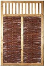 Weiden-Zaun / Sichtschutz Weide im Maß 120 x 180 cm ( Breite x Höhe ) als Flechtzaun / Flechtzäune mit umlaufenden Rahmen mit Rankgitter aus braun gebeizten Holz