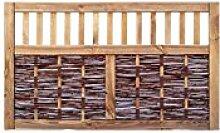 Weiden-Zaun / Weiden-Flechtzaun im Maß 150 x 90 cm ( Breite x Höhe ) als Weidengeflecht aus Weiden-Ruten im Holz-Rahmen mit Rankgitter