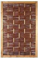 Weiden-Zaun / Weidenflechtzaun im Maß 120 x 180 cm ( Breite x Höhe ) als Flechtzaun / Flechtzäune mit umlaufenden Rahmen aus braun gebeizten Holz