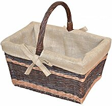 Weidenkorb/Holzkorb braun mit Stoffeinsatz,