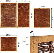 Weidenzaun Sichtschutz Element in 4 Größen ( Höhe x Breite: 140 x 120 cm ) Flechtzaun aus Weide in allseitigem Holzrahmen