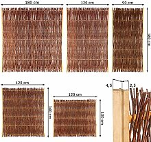 Weidenzaun Sichtschutz Element in 5 Größen ( Höhe x Breite: 100 x 120 cm ) Flechtzaun aus Weide im Seitenrahmen ( Ruten oben gekappt )