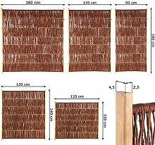 Weidenzaun Sichtschutz Element in 5 Größen ( Höhe x Breite: 180 x 90 cm ) Flechtzaun aus Weide im Seitenrahmen ( Ruten oben umgelegt )