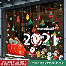 Weihnachten 2021 Santa Bell Glas Aufkleber-Frohe