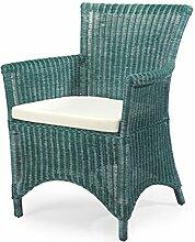 WEIHNACHTEN: -27% Rattan-Sessel ROSAS - Rattan - Vintage - inkl. Sitzkissen - Grün