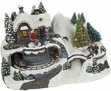 Weihnachten animierte Licht bis Village Winter fahrenden Zug Szene Santa Weihnachts Festive Home Ornament Dekoration Geschenk batteriebetrieben