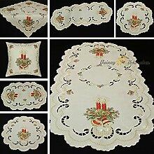 Weihnachten Creme Rot Gold Leinen-Optik Tischdecke Mitteldecke Tischläufer Kissenhülle - Größe wählbar (ca. 85 x 85 cm)