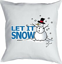 Weihnachten Deko Advent Bezug für Kissen Schneemann Print LET IT SNOW Weihnachtszeit Adventskalender Füllung Geschenke Idee Kissenhülle 40x40cm weiß : )