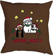 Weihnachten Deko Advent Kissen mit Innenkissen - JINGLE BELLS Hunde Weihnacht Weihnachtszeit Adventskalender Füllung Geschenke Idee 40x40cm braun : )