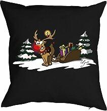Weihnachten Deko Advent Kissen mit Innenkissen - RENTIER RUDOLPH mit der roten Nase Weihnachtsmotiv Adventskalender Füllung Geschenke Idee 40x40cm schwarz : )