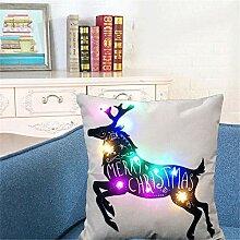 Weihnachten Deko, Leinen Sofa Kissenbezug mit LED