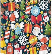 Weihnachten Dekoration Dekor, Schneemann, Kranz, Kerze, gelber Stern Duschvorhang 180W x180H (72x72 Zoll) Zoll Mehltau Resistent Polyester Stoff Badezimmer Fantastische Dekoration Bad Vorhang, Haken enthalten