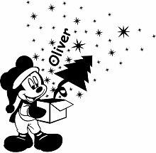 Weihnachten Dekoration Größe 60cm x 57cm mit Set von 46Sterne (2x 10cm, 12x 5cm, 32x 2,5cm) wählen Sie Farbe 18Farben in Lager Mickey Maus mit Ihrem gewählten Namen, jeder Name, personalisierbar, Name, Geschenk-Box, Weihnachtsbaum, Childs Schlafzimmer, Auto Vinyl-, Windows und Wandtattoo, Wand Windows Art, Weihnachten, Decals, Ornament Vinyl Sticker ThatVinylPlace