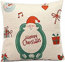 Weihnachten Geschenkidee Leinenkissenabdeckung Zierkissenbezug, Weihnachtsmann Merry Christmas, Hauptfarbe Beige