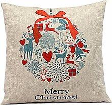 Weihnachten Geschenkidee Leinenkissenabdeckung Zierkissenbezug, Hirsch Merry Christmas, Hauptfarbe Beige, Versandvertig nicht vor Weihnachten