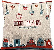 Weihnachten Geschenkidee Leinenkissenabdeckung Zierkissenbezug, Bunte Häuse , Hauptfarbe Beige