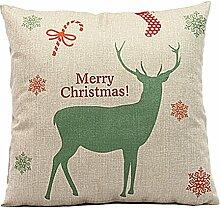 Weihnachten Geschenkidee Leinenkissenabdeckung Zierkissenbezug, grün Hirsch Merry Christmas, Hauptfarbe Beige