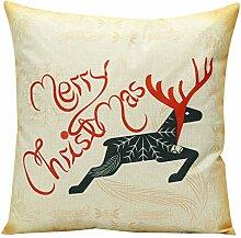 Weihnachten Geschenkidee Leinenkissenabdeckung Zierkissenbezug (ohne Kissen) 45*45cm