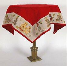 Weihnachten Idee: Tischdecke roten bestickt mit Weihnachts Dekoration - Weihnachtsmann Schneemann tannenbaum -