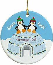 Weihnachten Ornament Crafts Personalisierte Pinguin Paar Xmas Tree Ornament Kleiderbügel Geschenk für Frauen