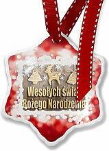 Weihnachten Ornament Frohe Weihnachten in Polnisch aus Polen, rot–neonblond
