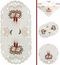 Weihnachten Rote Kerzen und Buch Stickerei Mitteldecke 85 x 85 cm Polyester, Weiß