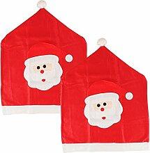 Weihnachten Santa Face Küche Stuhl Cover Bobble Hat Rot & Weiß Filz Xmas Party Dekoration Festive Family Fun, 2er-Pack