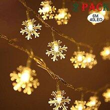 Weihnachten Schneeflocke Lichterketten 6M 40 LED