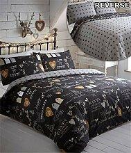 Weihnachten schwarz single Quilt Bettbezug &