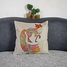 Weihnachten Sofa Deko Leinen Kissenhülle Zierkissenbezug Geschenkidee, Tiere Muster, Grundfarbe Beige (Fuchs)